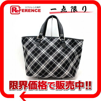 "Burberry Blue label check Tote Bag Black series ""correspondence."""