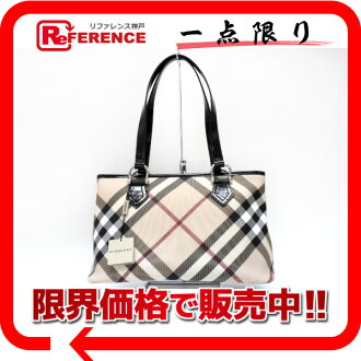 "Burberry Supernova check tote bag beige × black unused ""response."""