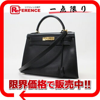 Hermes Kelly 28 outside sewn with shoulder strap Bock scarf black gold bracket Z time HERMES