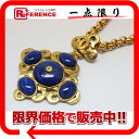 [CHANEL] It is fs2gm fs2gm CHANEL 97P stone pendant necklace gold X blue system [used] [comfortable  _ packing   free shipping tomorrow for comfort]