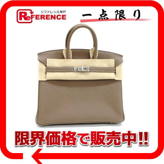 Hermes handbags HERMES Birkin 25 slope ETAP silver bracket Q ever-new