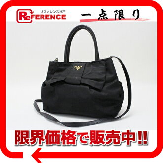 "Prada Ribbon 2-WAY handbag nylon / leather black s correspondence.""fs3gm"