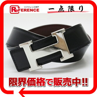 Hermes H belt reversible 75 leather black × fs3gm エトリュスク silver bracket D ticking? s support.""