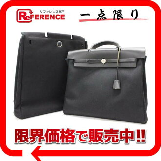 Handbag by Hermes airbag MM-2-WAY with bag トワルオフィシ ALE black matte silver bracket C ticking? s support.""