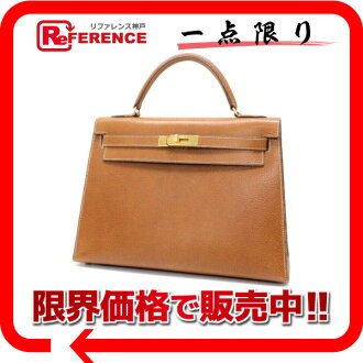"Hermes handbags ""Kelly 32"" outside seam with shoulder strap Polk gold gold bracket U ever-s support."""