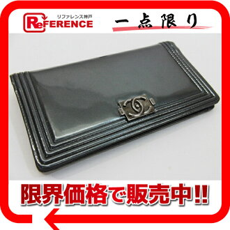 "Chanel ボーイシャネル patent leather zipper long wallet grey series and vintage fittings beauty products ""enabled."""