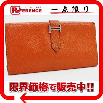 """에르메스 2 접는 장 지갑 """"ベアン"""" シェーブル 오렌지 실버 브래킷 H 미 《 대응 》 《 대응 》 fs3gm 02P05Apr14M"""