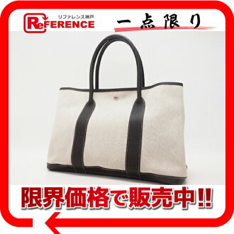 "Hermes garden party PM tote bag toil ash Marrone J ticking still use ""compatible."""