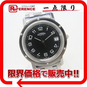에르메스 클리퍼 남성용 시계 쿼 츠 SS 검정 문자판 《 대응 》 fs3gm 02P05Apr14M