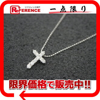 Recycled jewelry cross pendant necklace K14WG diamond 0.30 ct brand new as well as fs3gm