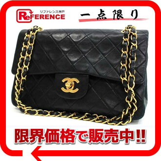 "Chanel lambskin matelasse 23 W chain shoulder black black gold metal ""support."""