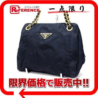 PRADA nylon chain shoulder bag navy dark blue 》 fs3gm for 《