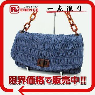 "DENIM Prada GAUFRE ' (denim gathered) fs3gm placein shoulder bag AVIO (Avion) Blue BR4875 beauty products ""enabled."""