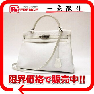 "Sewing in a Hermes handbag ""Kelly 32"" shoulder-straps fjord white silver hardware white G ticking? s support."""