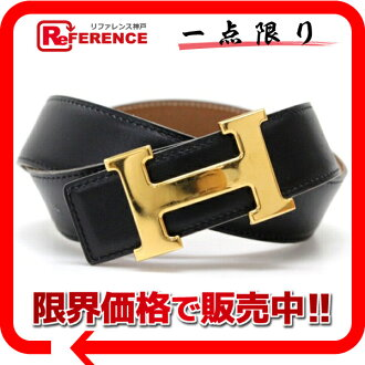 "Hermes H reversible belt box 70 Cafe × クシュベル black x gold gold bracket C engraved ""response.""-fs3gm"