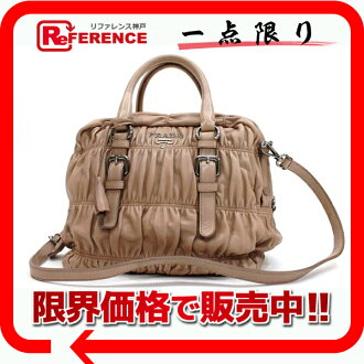 "Prada nappegoefl 2-WAY handbag beige beauty products ""enabled."" fs3gm02P05Apr14M"