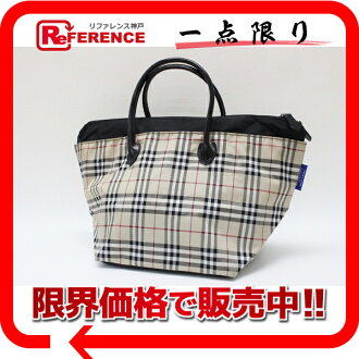 Burberry blue label check tote bag beige X black 》 fs3gm for 《