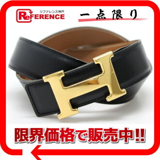 "Hermes H reversible belt box 75 Cafe × クシュベル black x gold gold bracket A ticking ""response.""-fs3gm"