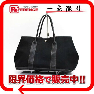 "Hermes garden party PM tote bag トワルオフィシ ALE Black G ticking ""response.""-fs3gm"