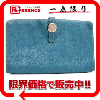"Hermes Dogon MM-2-fold long wallet Blue Jean silver metal ""response."""