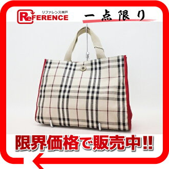"Burberry London classic check canvas tote bag beige / red ""support."""
