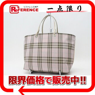 Burberry London check tote bag pink X beige 》 fs3gm for 《