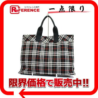 "Burberry Blue label check tote bag Nylon canvas black series ""correspondence."""