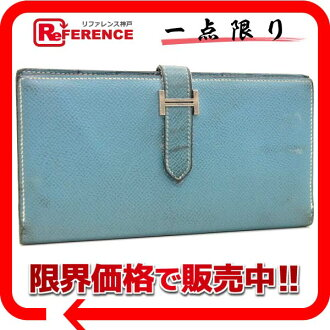"Hermes ""ベアンスフレ"" with gusset fold wallet Epson Blue Jean Silver bracket L ever-fs3gm"