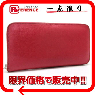 "HERMES round fastener long wallet ""アザップロング"" Epson bougainvillaea silver metal fittings N 刻 》 fs3gm for 《"