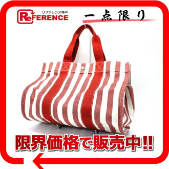 "HERMES ""Cannes MM"" tote bag white X red 》 fs3gm for 《"