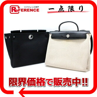 "Hermes airbag PM refill bag with toile GM / トワルオフィシ air natural x black H engraved ""dealing"" fs3gm"