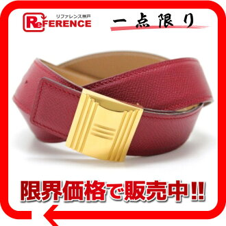 75 HERMES Artemis reversible belt クシュベルルージュヴィフ Xs natural gold metal fittings B 刻 》 fs3gm for 《