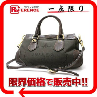 "Prada ロゴジャ guard 2-WAY handbag dark brown BN1840 ""enabled."""