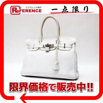 Hermes handbag Birkin 30 white silver metal triyoncremans I ever-HERMES