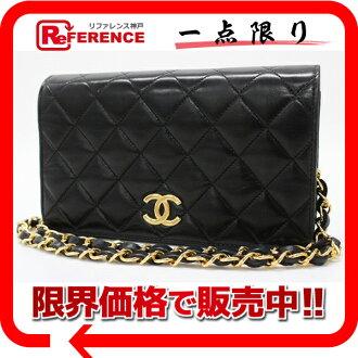 CHANEL Chanel lambskin matelasse W chain shoulder bag black gold hardware