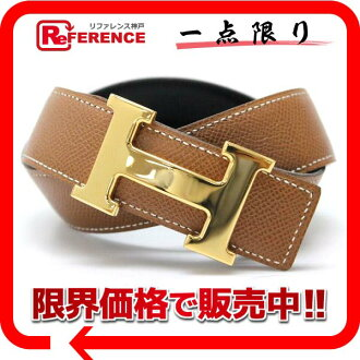 "Hermes H reversible belt box 65 Cafe × クシュベル black x gold gold bracket B inscribed ""response."""