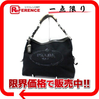 "Prada CANAPA STENCIL (canape stencil) logo セミショルダー bag black series BR3447 ""response.""-fs3gm"