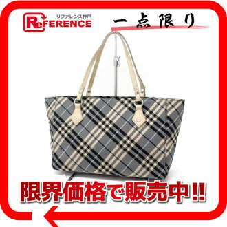 "Burberry Blue label check tote bag beige / blue ""response."""