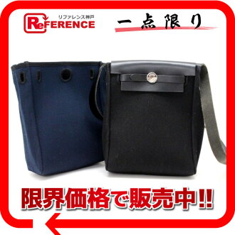"Hermes airbag TPM diagonally over the shoulder bag replacement bag toil Office air black / Navy H engraved ""response.""-fs3gm02P05Apr14M"
