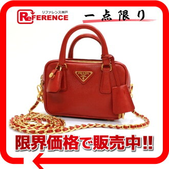 "Prada SAFFIANO (saffiano) chain ミニポシェットショルダー bag red beauty products ""enabled."" fs3gm"