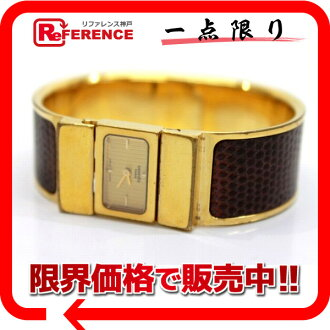 "Hermes Roque Bangle watch ladies watch quartz GP x lizard gold × fs3gm Brown L01.201 ""enabled."""