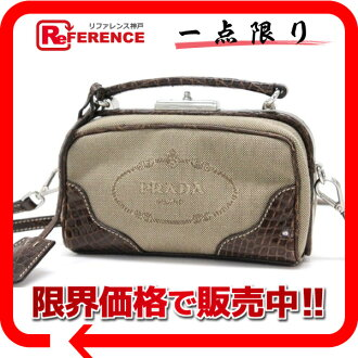 PRADA canvas X black co-2WAY mini-handbag pochette brown 》 fs3gm for 《