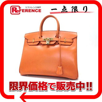 "Premier handbag Hermes ""Birkin 35"" ヴォーガリバー Orange gold bracket F engraved translation is ""enabled."" fs3gm"