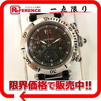 "Cartier Pasha N950 chronograph men's watch SS プラチナベゼル gray character machine automatic W3105155 ""support."""