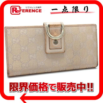 Gucci NEW ABBEY( new Abie) GG two fold long wallet pink beige X gold lam 141412 》 fs3gm for 《