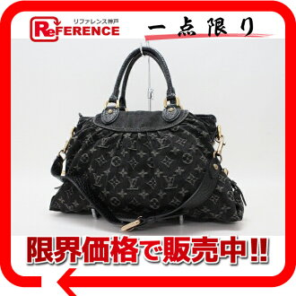 "Louis Vuitton Monogram Denim ネオカヴィ MM-2-WAY handbag Noir M95351 ""response.""-fs3gm"
