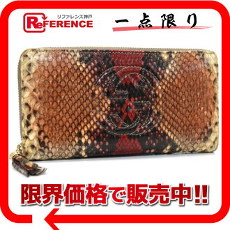 282413 《 correspondence 》 fs3gm of gucci SOHO (Soho) python round fastener long wallet Brown line