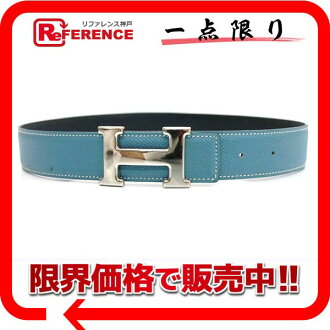 "Hermes H belt reversible belt 65 クシュベル Blue Jean x Dark Navy silver bracket B inscribed ""response."""