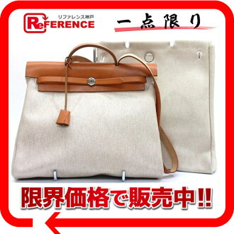 "Hermes air bag 2-WAY handbag refill bag with towel Ashe natural B ticking? s support.""fs3gm02P05Apr14M"