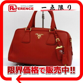 PRADA Prada VITELLO DAINO (vitterodaino) 2-WAY handbag leather Rosso (red) BL0867 unused used